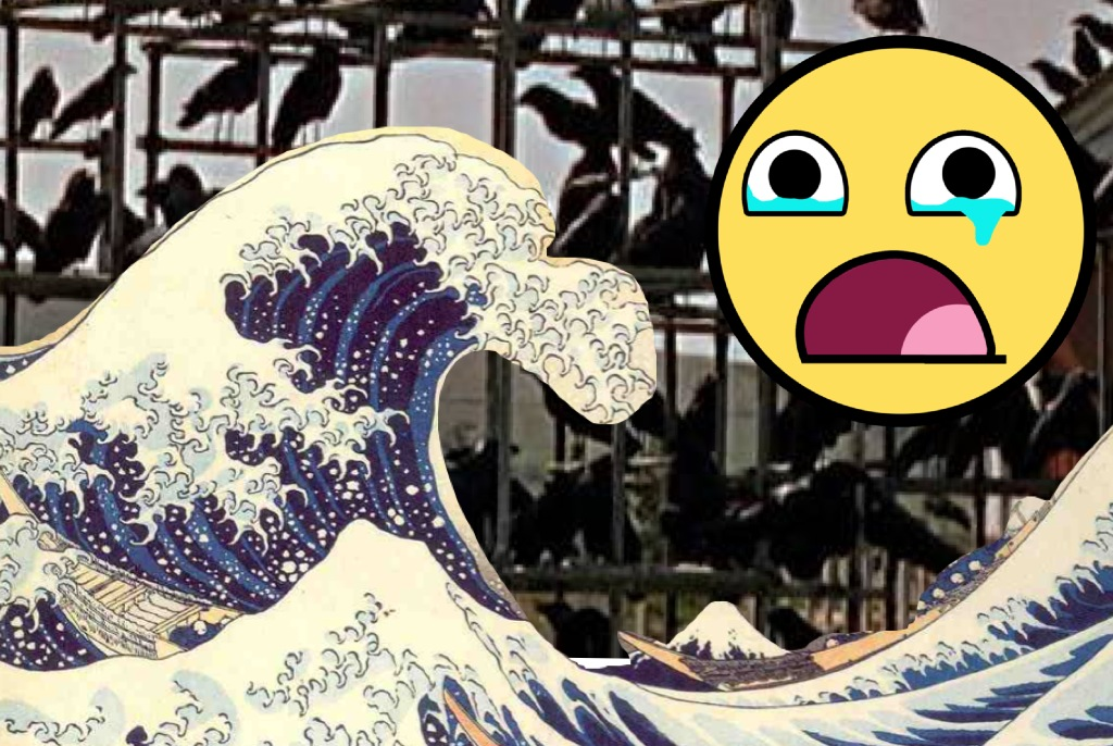 A wave crashes into the birds, as a saddened Awesomeface looks on